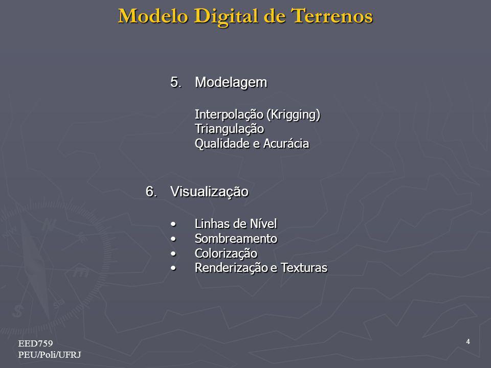Modelo Digital de Terrenos 35 EED759 PEU/Poli/UFRJ 2 – Definições Básicas 2.9 – Modelagem Digital de Terreno O processo de modelagem digital de terreno pode ser dividido em 3 etapas: aquisição das amostras ou amostragem, geração do modelo propriamente dito ou modelagem e, finalmente, utilização do modelo ou aplicações.
