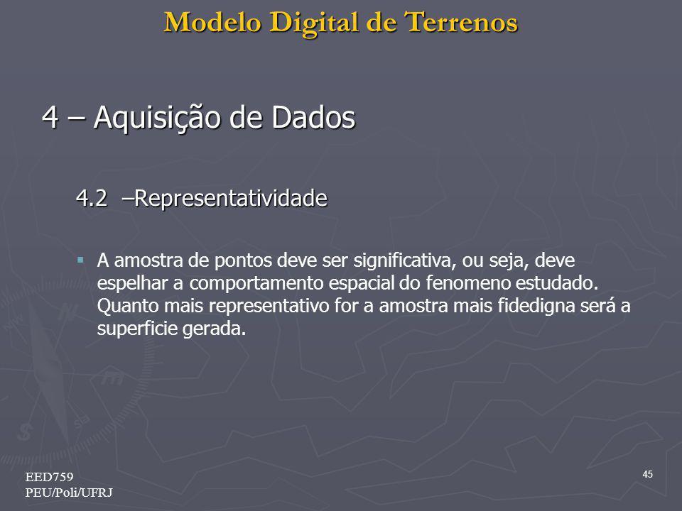 Modelo Digital de Terrenos 45 EED759 PEU/Poli/UFRJ 4 – Aquisição de Dados 4.2 –Representatividade A amostra de pontos deve ser significativa, ou seja,