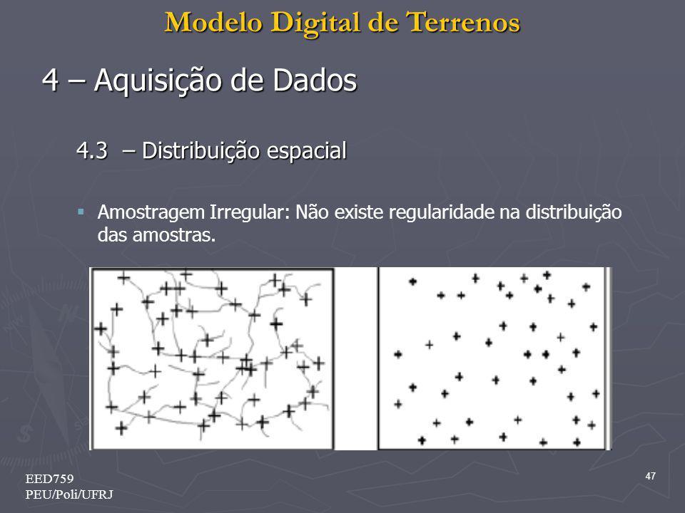 Modelo Digital de Terrenos 47 EED759 PEU/Poli/UFRJ 4 – Aquisição de Dados 4.3 – Distribuição espacial Amostragem Irregular: Não existe regularidade na