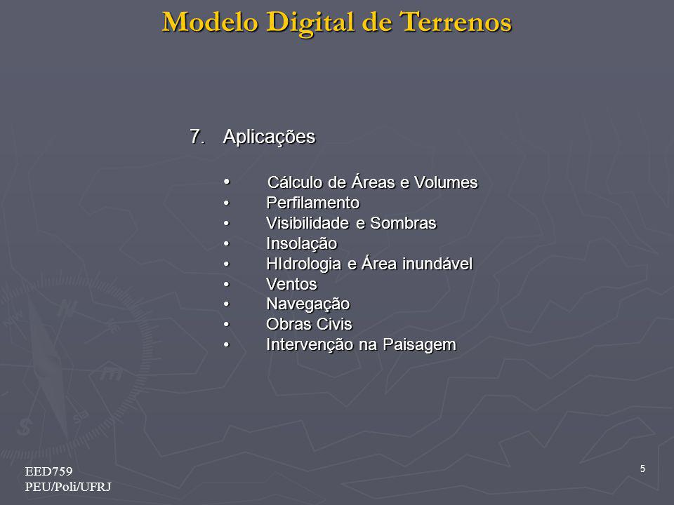 Modelo Digital de Terrenos 6 EED759 PEU/Poli/UFRJ 1 - Introdução Representação computacional de informação espacializada em forma tridimensional.