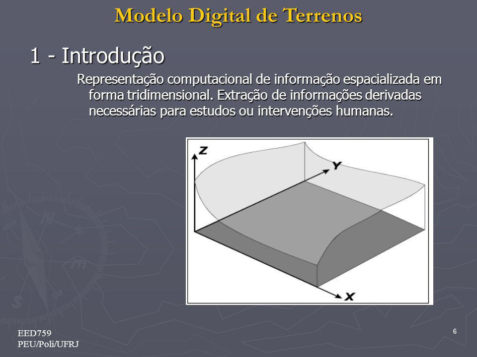 Modelo Digital de Terrenos 6 EED759 PEU/Poli/UFRJ 1 - Introdução Representação computacional de informação espacializada em forma tridimensional. Extr