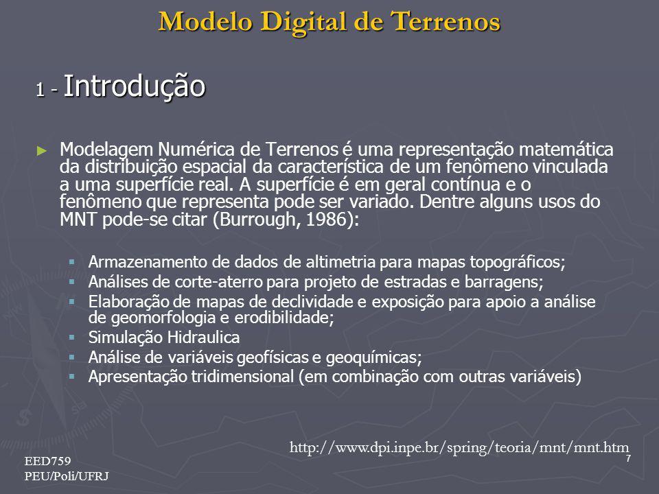 Modelo Digital de Terrenos 7 EED759 PEU/Poli/UFRJ 1 - Introdução Modelagem Numérica de Terrenos é uma representação matemática da distribuição espacia