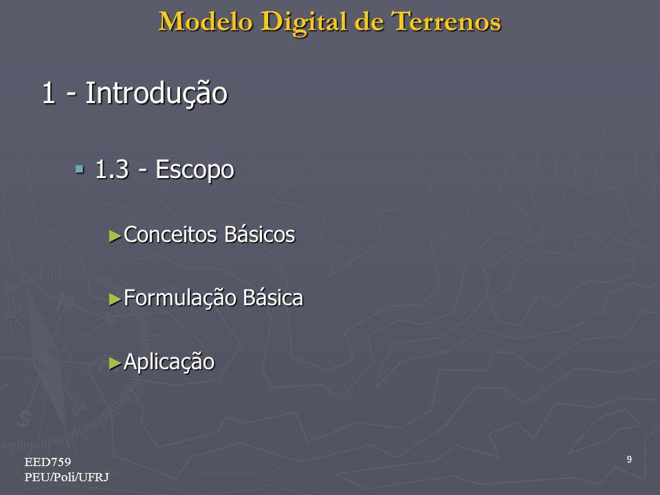 Modelo Digital de Terrenos 9 EED759 PEU/Poli/UFRJ 1 - Introdução 1.3 - Escopo 1.3 - Escopo Conceitos Básicos Conceitos Básicos Formulação Básica Formu