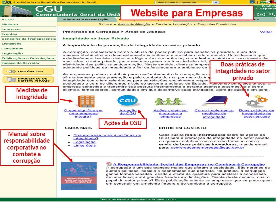 Manual sobre responsabilidade corporativa no combate a corrupção Website para Empresas Ações da CGU Boas práticas de integridade no setor privado Medi