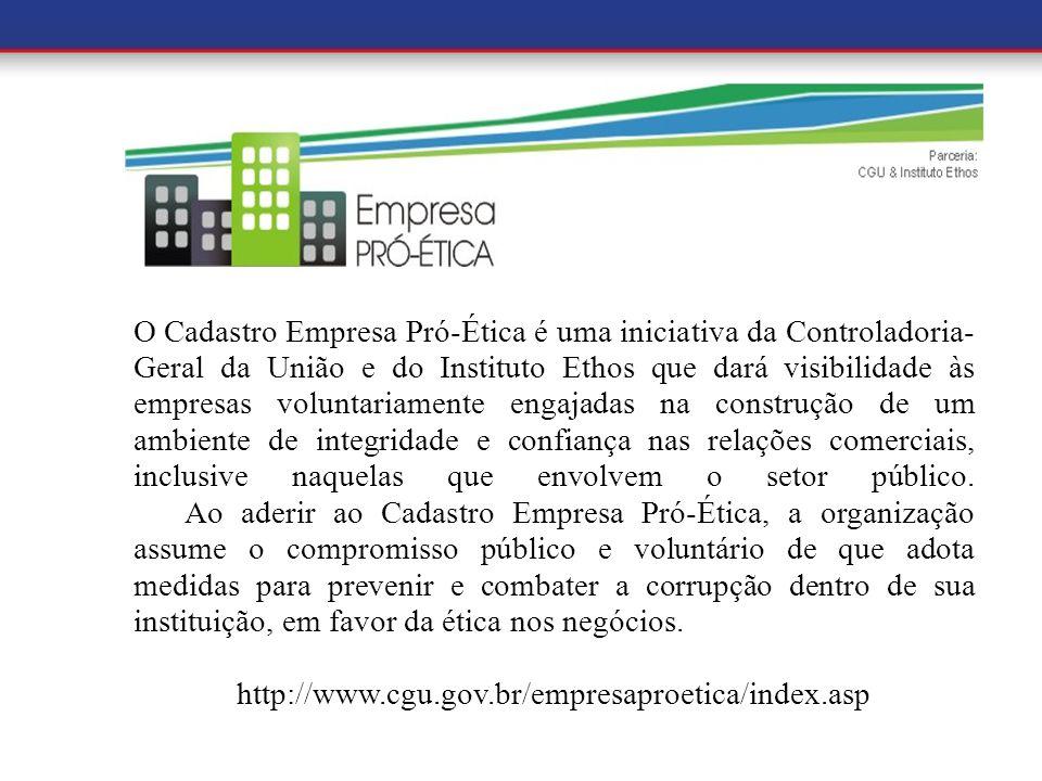 a O Cadastro Empresa Pró-Ética é uma iniciativa da Controladoria- Geral da União e do Instituto Ethos que dará visibilidade às empresas voluntariament