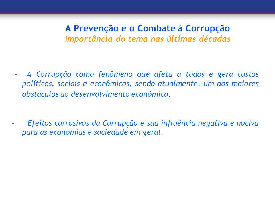 A Prevenção e o Combate à Corrupção Surgimento das primeiras ações - A Globalização e a expansão dos mercados; - Inclusão do item corrupçãona análise de riscos de investimentos; - Desenvolvimento dos tratados e convenções internacionais e pactos de integridade.
