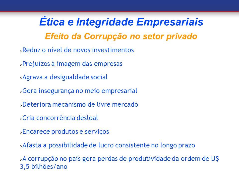 Reduz o nível de novos investimentos Prejuízos à imagem das empresas Agrava a desigualdade social Gera insegurança no meio empresarial Deteriora mecan