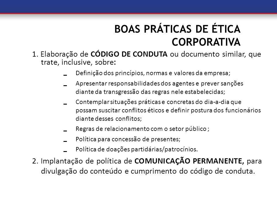 BOAS PRÁTICAS DE ÉTICA CORPORATIVA 1. Elaboração de CÓDIGO DE CONDUTA ou documento similar, que trate, inclusive, sobre: Definição dos princípios, nor