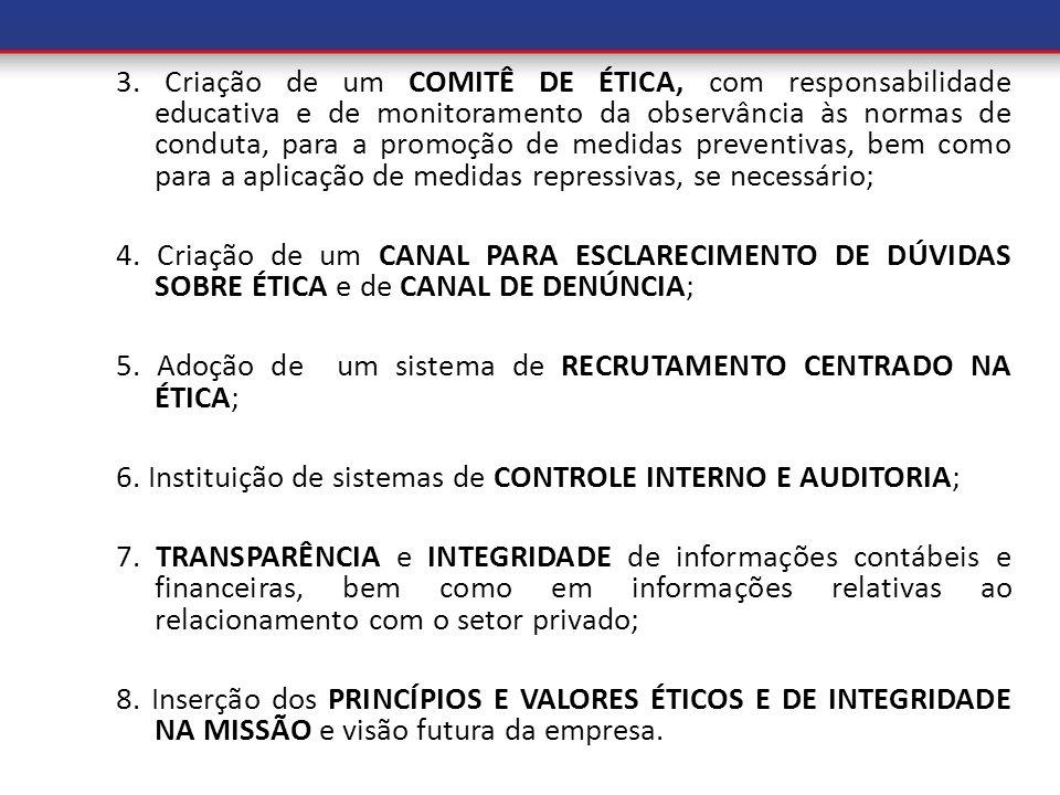 3. Criação de um COMITÊ DE ÉTICA, com responsabilidade educativa e de monitoramento da observância às normas de conduta, para a promoção de medidas pr