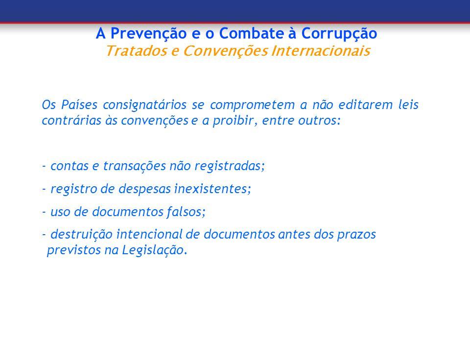 A Prevenção e o Combate à Corrupção Convenções internacionais As três convenções ratificadas pelo Brasil: - Convenção das Nações Unidas Contra a Corrupção – CNUCC - Convenção Interamericana Contra a Corrupção – OEA; - Convenção sobre o Suborno de Funcionários Públicos Estrangeiros em Transações Comerciais Internacionais - OCDE.