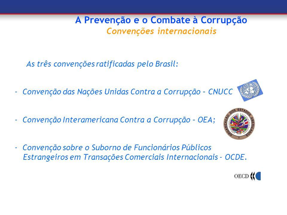 A Prevenção e o Combate à Corrupção Convenções internacionais As três convenções ratificadas pelo Brasil: - Convenção das Nações Unidas Contra a Corru