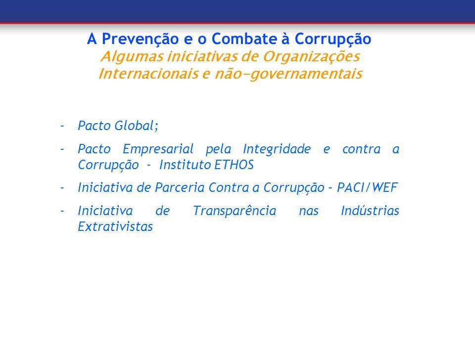 A Prevenção e o Combate à Corrupção Algumas iniciativas de Organizações Internacionais e não-governamentais -Pacto Global; -Pacto Empresarial pela Int