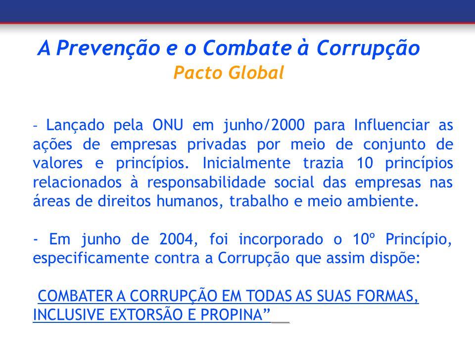 A Prevenção e o Combate à Corrupção Pacto Global - Lançado pela ONU em junho/2000 para Influenciar as ações de empresas privadas por meio de conjunto