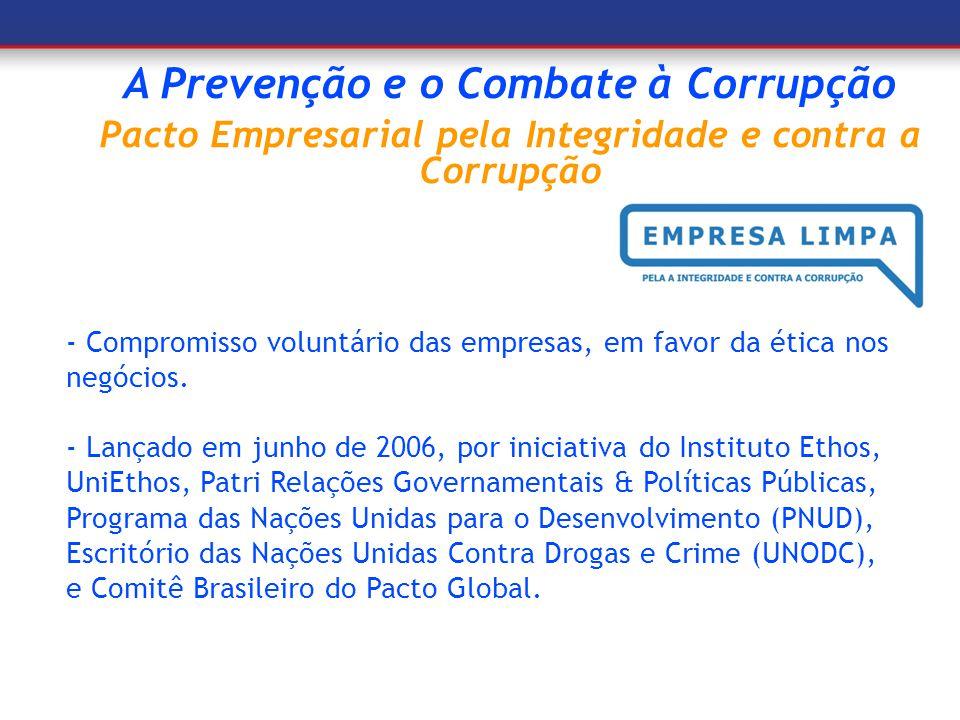 A Prevenção e o Combate à Corrupção Pacto Empresarial pela Integridade e contra a Corrupção - Compromisso voluntário das empresas, em favor da ética n