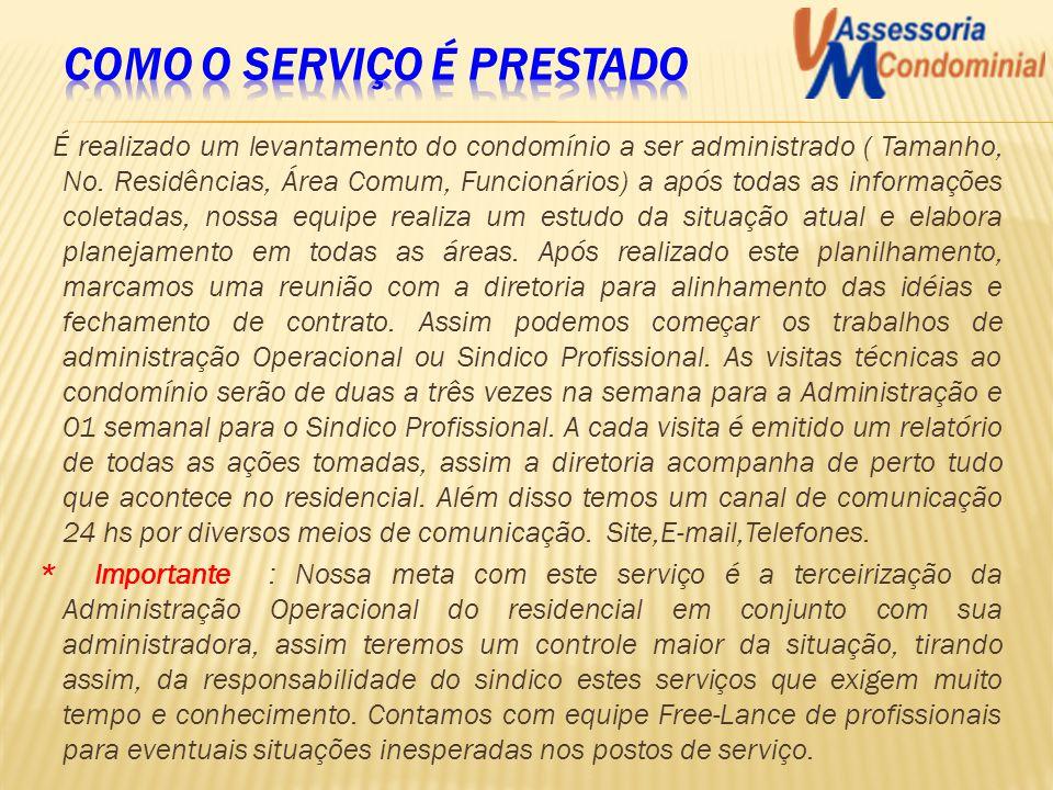 É realizado um levantamento do condomínio a ser administrado ( Tamanho, No. Residências, Área Comum, Funcionários) a após todas as informações coletad