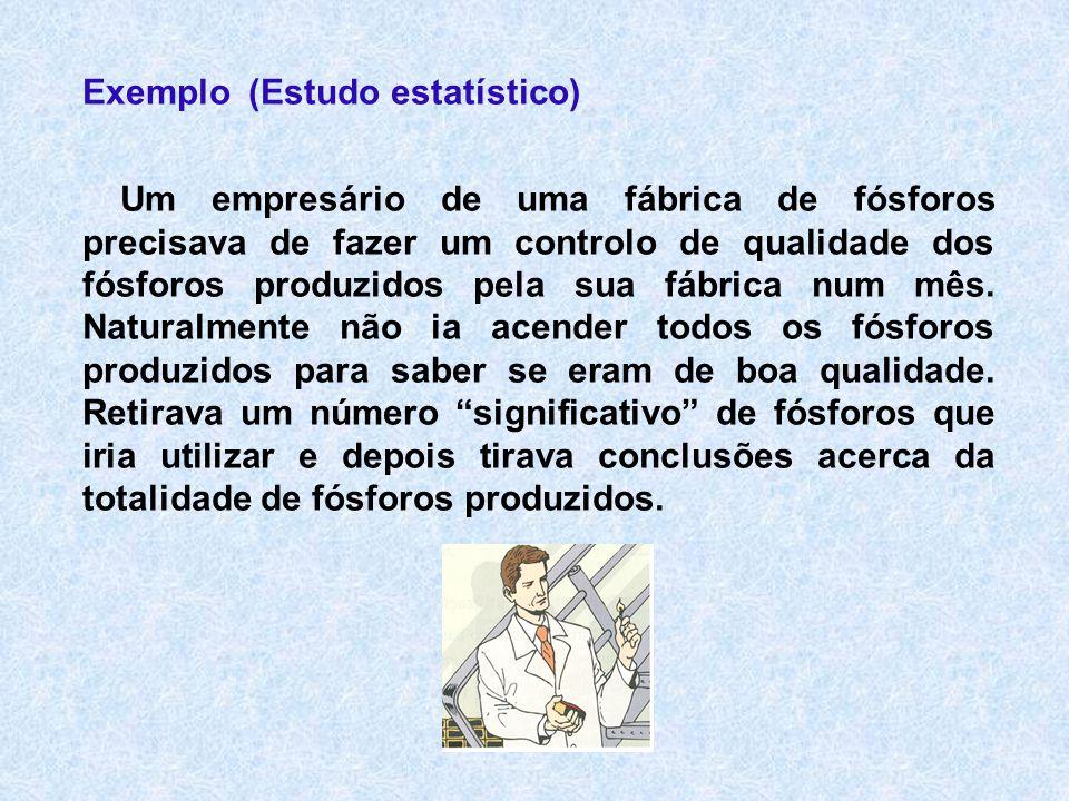 Exemplo (Estudo estatístico) Um empresário de uma fábrica de fósforos precisava de fazer um controlo de qualidade dos fósforos produzidos pela sua fáb