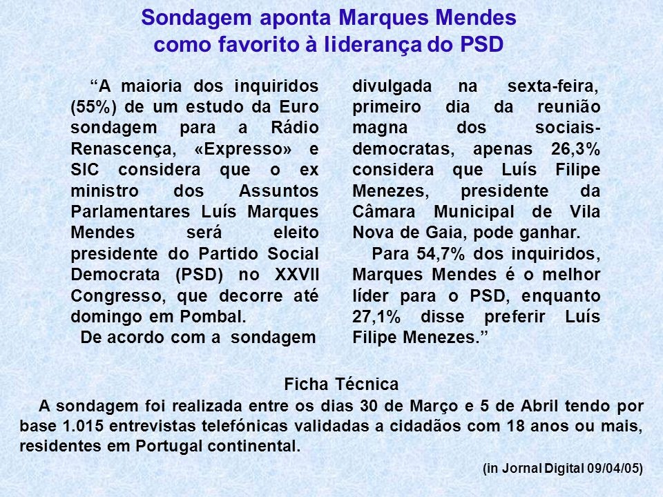 Sondagem aponta Marques Mendes como favorito à liderança do PSD Ficha Técnica A sondagem foi realizada entre os dias 30 de Março e 5 de Abril tendo po