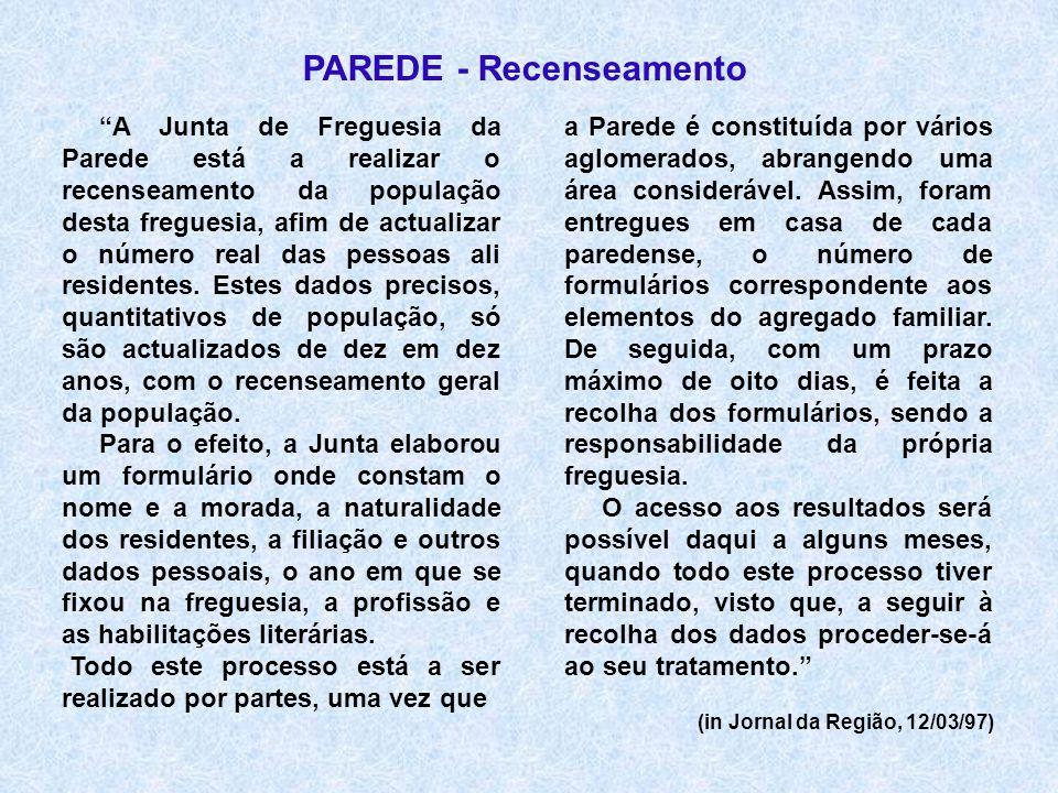 PAREDE - Recenseamento (in Jornal da Região, 12/03/97) A Junta de Freguesia da Parede está a realizar o recenseamento da população desta freguesia, af