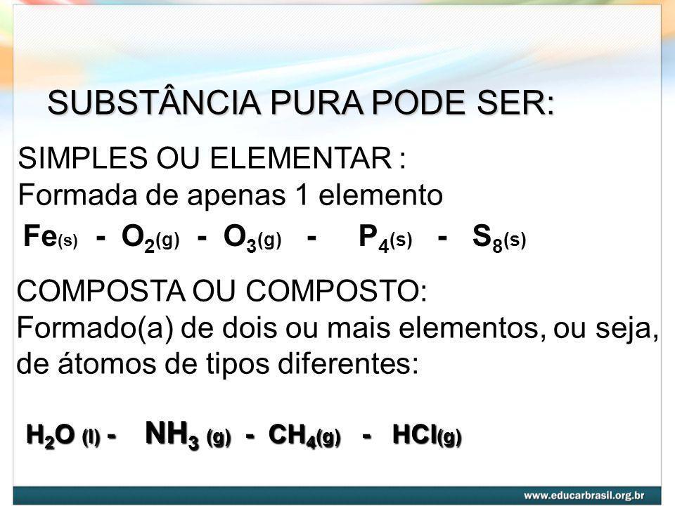 SUBSTÂNCIA PURA PODE SER: SIMPLES OU ELEMENTAR : Formada de apenas 1 elemento Fe (s) - O 2 (g) - O 3 (g) - P 4 (s) - S 8 (s) COMPOSTA OU COMPOSTO: Formado(a) de dois ou mais elementos, ou seja, de átomos de tipos diferentes: H2O (l) - NH3 (g) - CH4(g) - - HCl(g)
