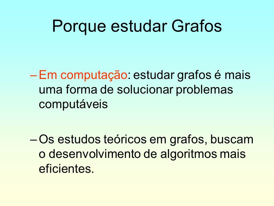 Porque estudar Grafos –Em computação: estudar grafos é mais uma forma de solucionar problemas computáveis –Os estudos teóricos em grafos, buscam o des