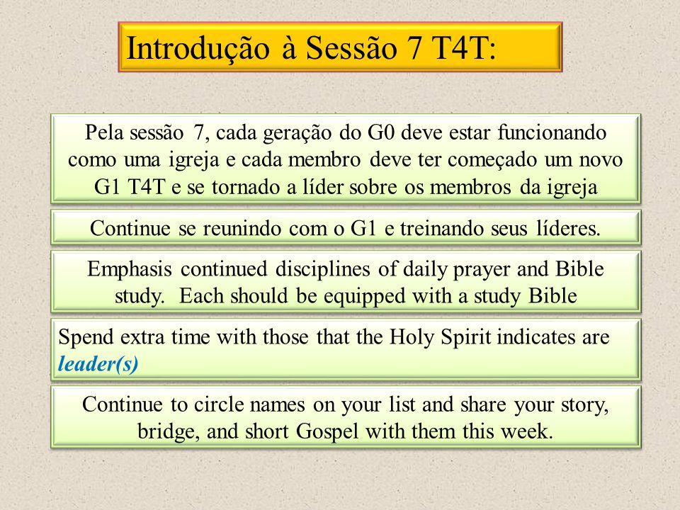 Introdução à Sessão 7 T4T: Pela sessão 7, cada geração do G0 deve estar funcionando como uma igreja e cada membro deve ter começado um novo G1 T4T e s