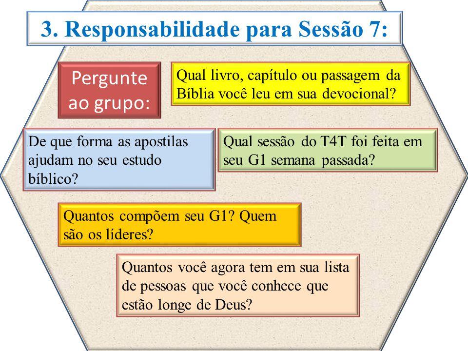 3. Responsabilidade para Sessão 7: Pergunte ao grupo: Qual livro, capítulo ou passagem da Bíblia você leu em sua devocional? De que forma as apostilas