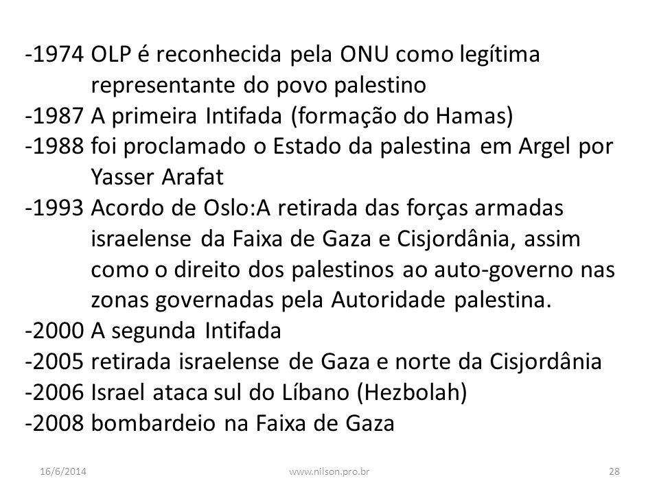 -1974 OLP é reconhecida pela ONU como legítima representante do povo palestino -1987 A primeira Intifada (formação do Hamas) -1988 foi proclamado o Es