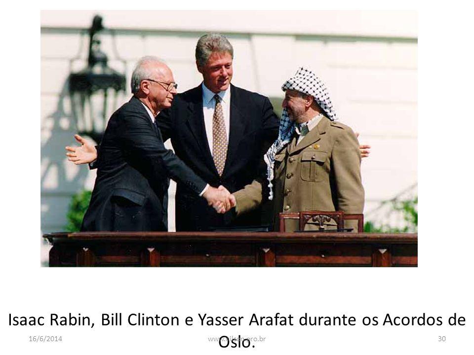 Isaac Rabin, Bill Clinton e Yasser Arafat durante os Acordos de Oslo. 16/6/201430www.nilson.pro.br
