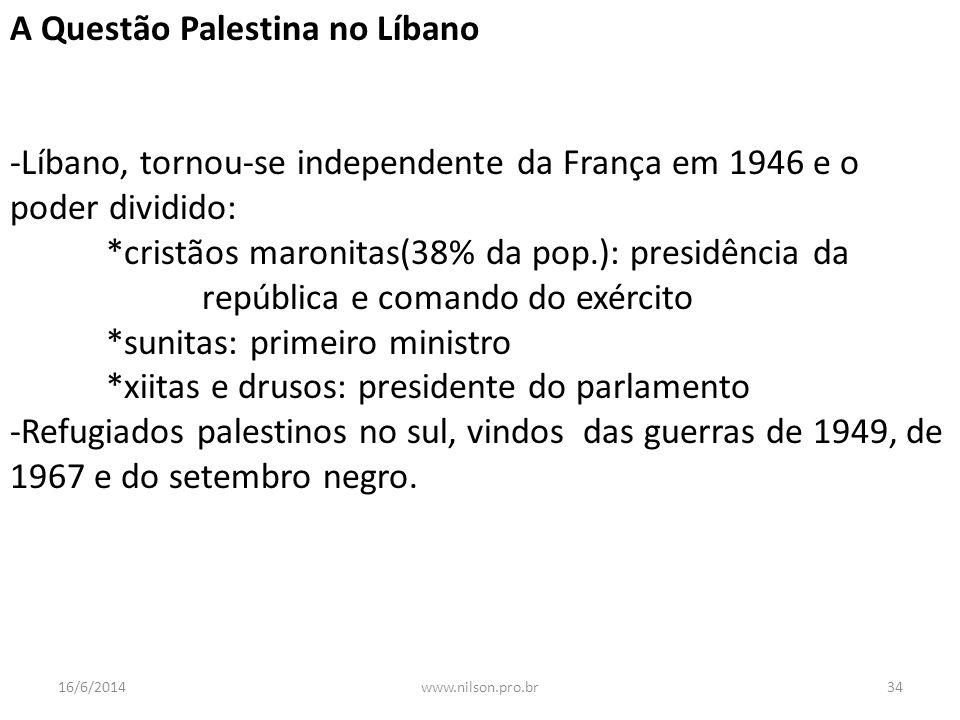 A Questão Palestina no Líbano -Líbano, tornou-se independente da França em 1946 e o poder dividido: *cristãos maronitas(38% da pop.): presidência da r