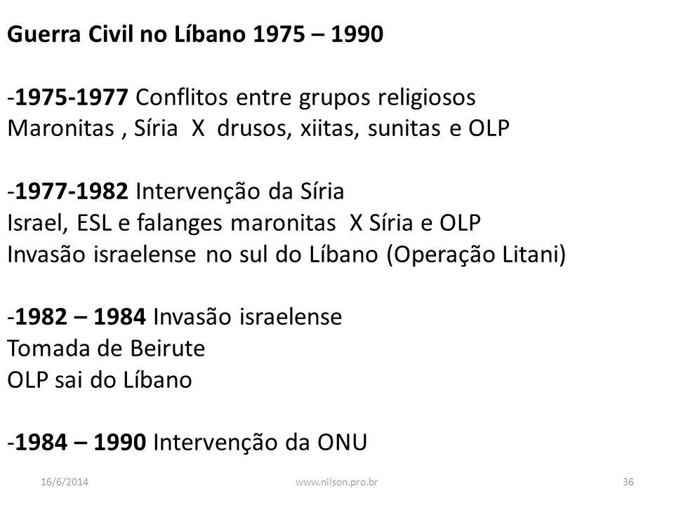 Guerra Civil no Líbano 1975 – 1990 -1975-1977 Conflitos entre grupos religiosos Maronitas, Síria X drusos, xiitas, sunitas e OLP -1977-1982 Intervençã