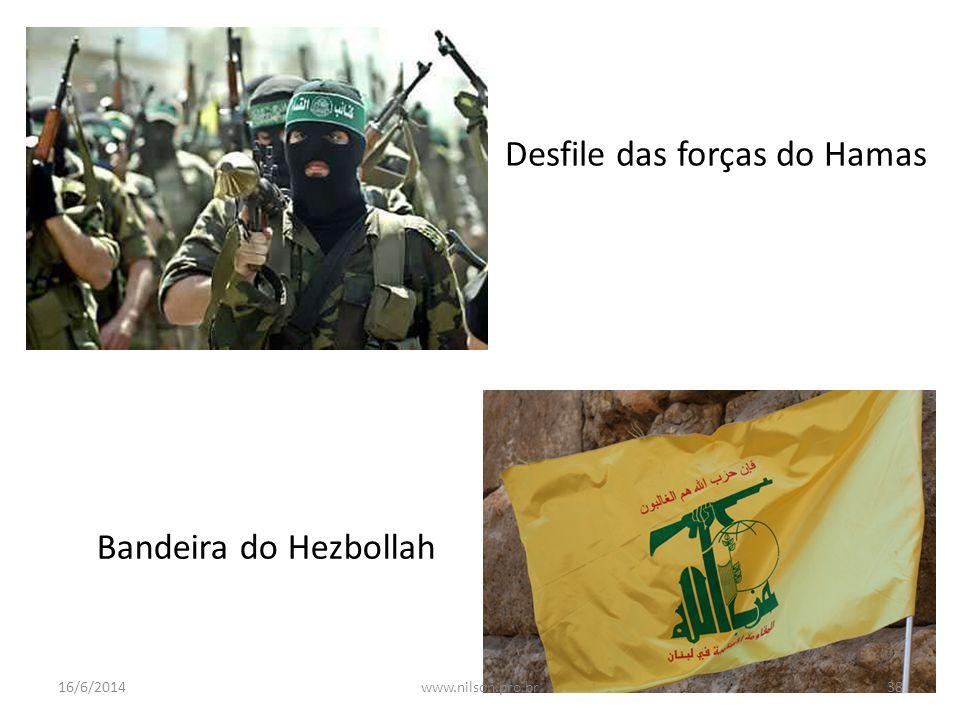 Desfile das forças do Hamas Bandeira do Hezbollah 16/6/201438www.nilson.pro.br
