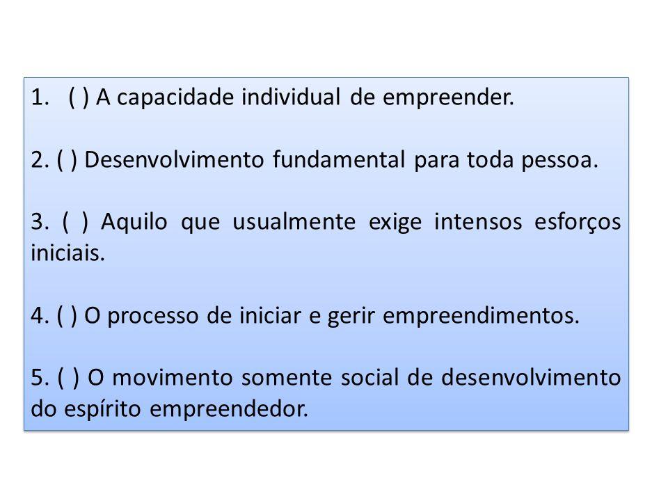 1.( ) A capacidade individual de empreender. 2. ( ) Desenvolvimento fundamental para toda pessoa. 3. ( ) Aquilo que usualmente exige intensos esforços