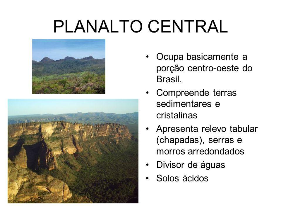 PLANALTO CENTRAL Ocupa basicamente a porção centro-oeste do Brasil. Compreende terras sedimentares e cristalinas Apresenta relevo tabular (chapadas),
