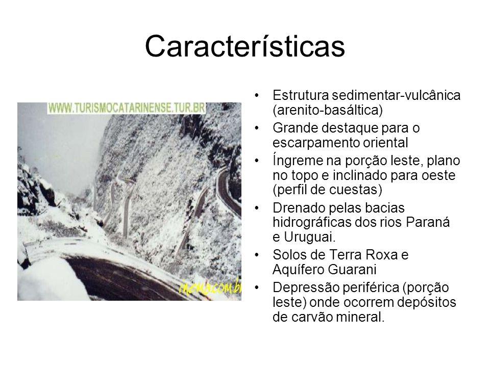 Características Estrutura sedimentar-vulcânica (arenito-basáltica) Grande destaque para o escarpamento oriental Íngreme na porção leste, plano no topo