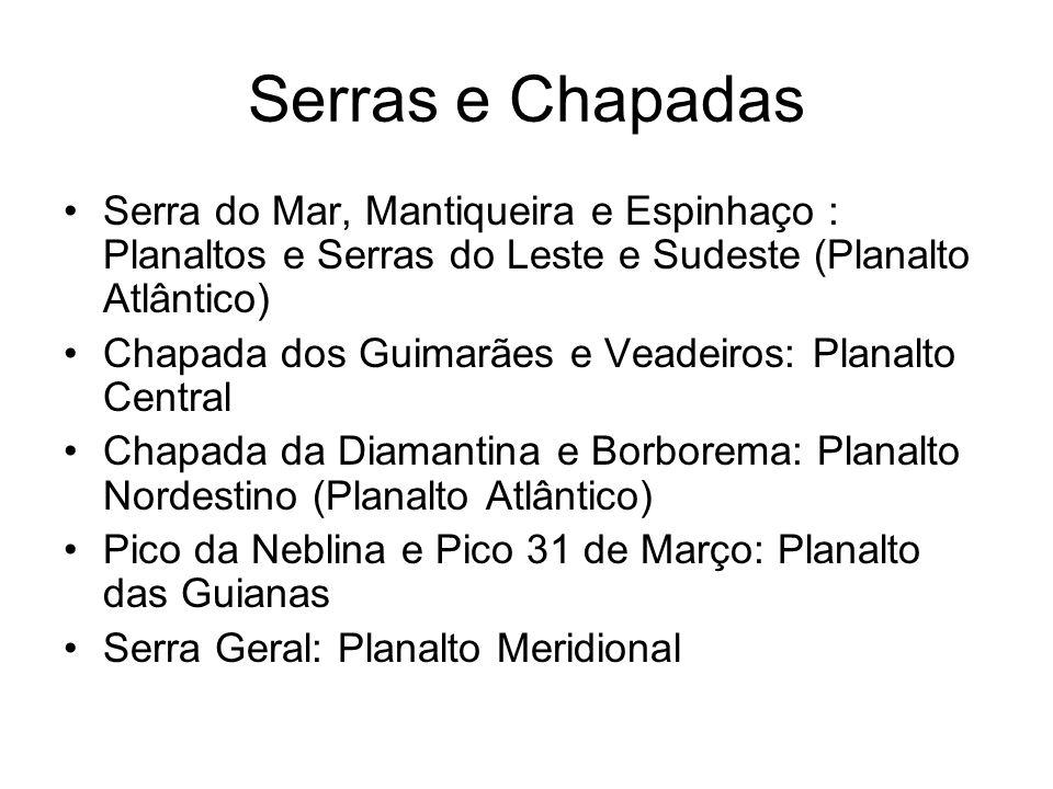 Serras e Chapadas Serra do Mar, Mantiqueira e Espinhaço : Planaltos e Serras do Leste e Sudeste (Planalto Atlântico) Chapada dos Guimarães e Veadeiros