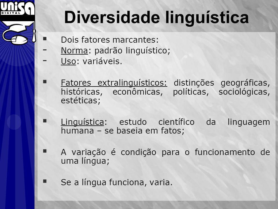 Diversidade linguística Dois fatores marcantes: - Norma: padrão linguístico; - Uso: variáveis. Fatores extralinguísticos: distinções geográficas, hist