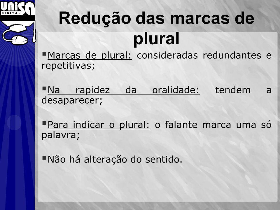 Marcas de plural: consideradas redundantes e repetitivas; Na rapidez da oralidade: tendem a desaparecer; Para indicar o plural: o falante marca uma só palavra; Não há alteração do sentido.