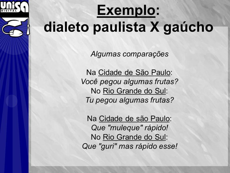 Exemplo: dialeto paulista X gaúcho Algumas comparações Na Cidade de São Paulo: Você pegou algumas frutas? No Rio Grande do Sul: Tu pegou algumas fruta