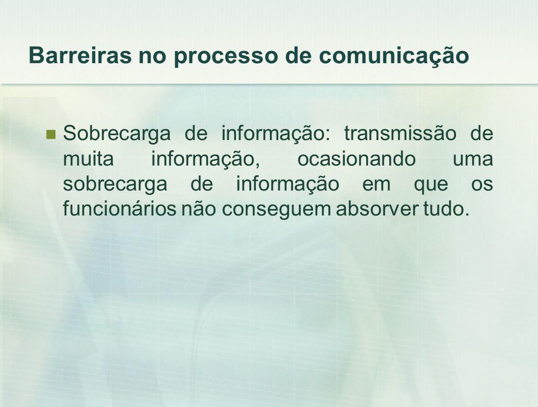 Sobrecarga de informação: transmissão de muita informação, ocasionando uma sobrecarga de informação em que os funcionários não conseguem absorver tudo