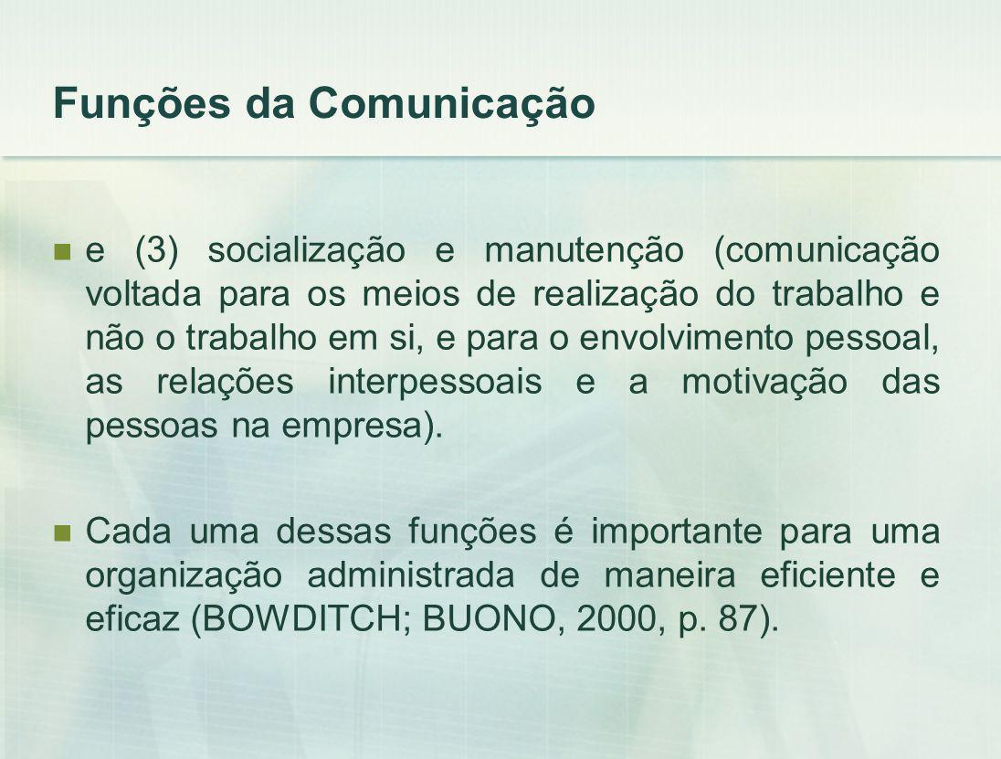 e (3) socialização e manutenção (comunicação voltada para os meios de realização do trabalho e não o trabalho em si, e para o envolvimento pessoal, as