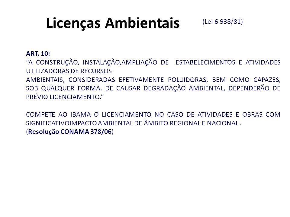 ART. 10: A CONSTRUÇÃO, INSTALAÇÃO,AMPLIAÇÃO DE ESTABELECIMENTOS E ATIVIDADES UTILIZADORAS DE RECURSOS AMBIENTAIS, CONSIDERADAS EFETIVAMENTE POLUIDORAS