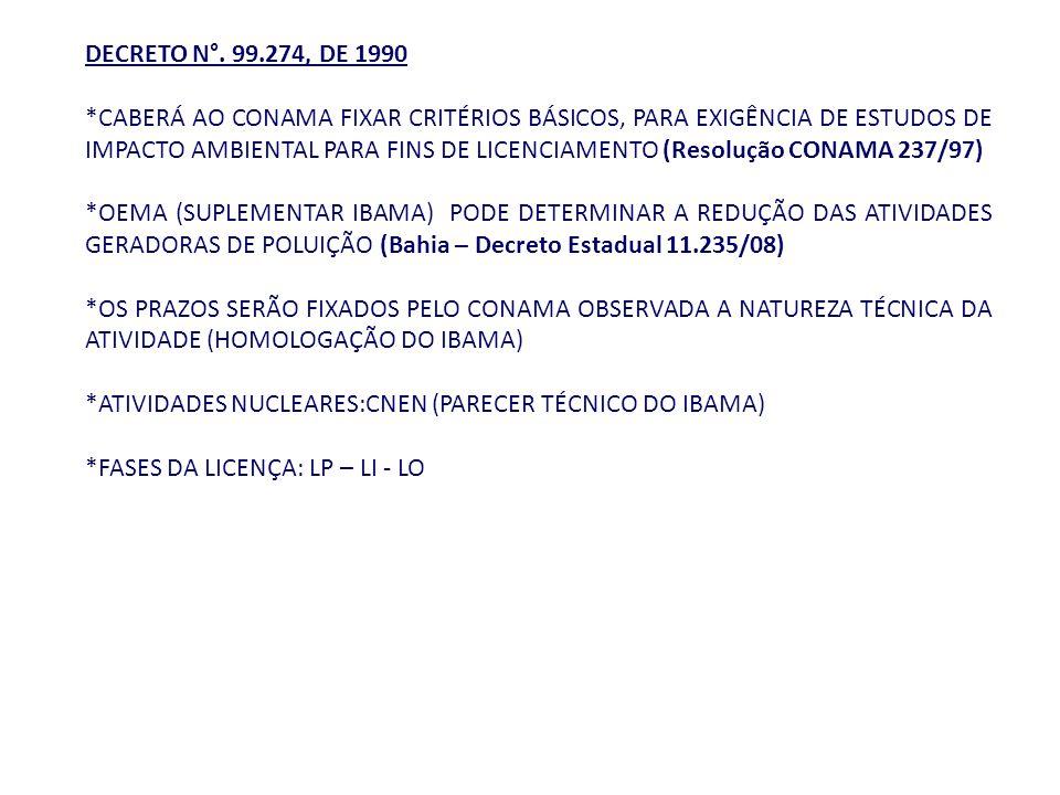 DECRETO N°. 99.274, DE 1990 *CABERÁ AO CONAMA FIXAR CRITÉRIOS BÁSICOS, PARA EXIGÊNCIA DE ESTUDOS DE IMPACTO AMBIENTAL PARA FINS DE LICENCIAMENTO (Reso