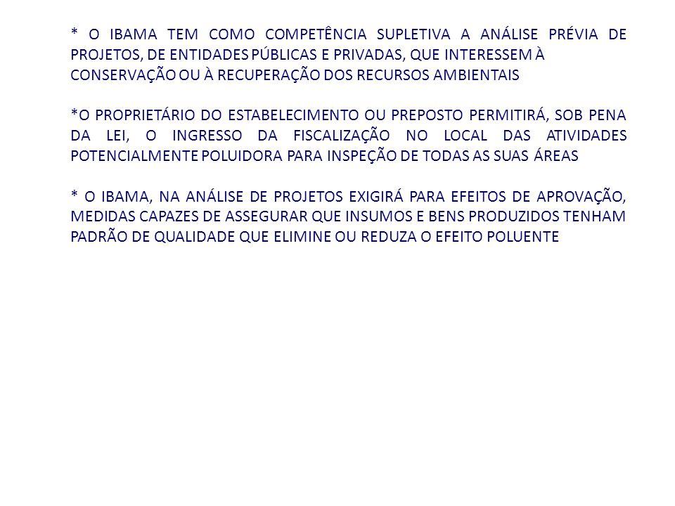 * O IBAMA TEM COMO COMPETÊNCIA SUPLETIVA A ANÁLISE PRÉVIA DE PROJETOS, DE ENTIDADES PÚBLICAS E PRIVADAS, QUE INTERESSEM À CONSERVAÇÃO OU À RECUPERAÇÃO