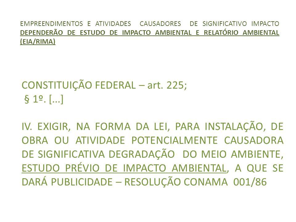 EMPREENDIMENTOS E ATIVIDADES CAUSADORES DE SIGNIFICATIVO IMPACTO DEPENDERÃO DE ESTUDO DE IMPACTO AMBIENTAL E RELATÓRIO AMBIENTAL (EIA/RIMA) CONSTITUIÇ