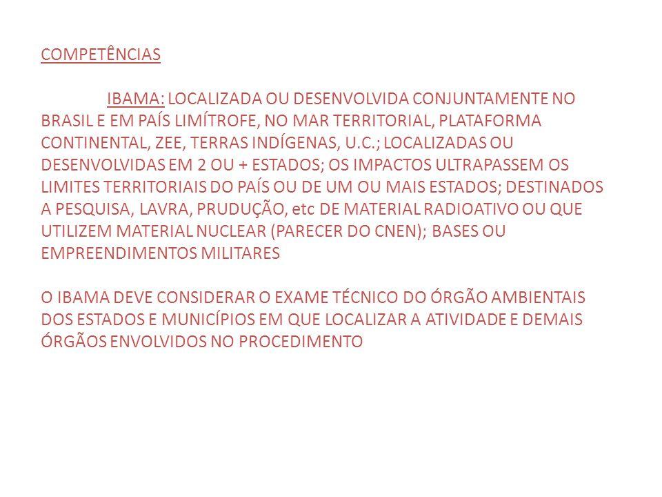 COMPETÊNCIAS IBAMA: LOCALIZADA OU DESENVOLVIDA CONJUNTAMENTE NO BRASIL E EM PAÍS LIMÍTROFE, NO MAR TERRITORIAL, PLATAFORMA CONTINENTAL, ZEE, TERRAS IN