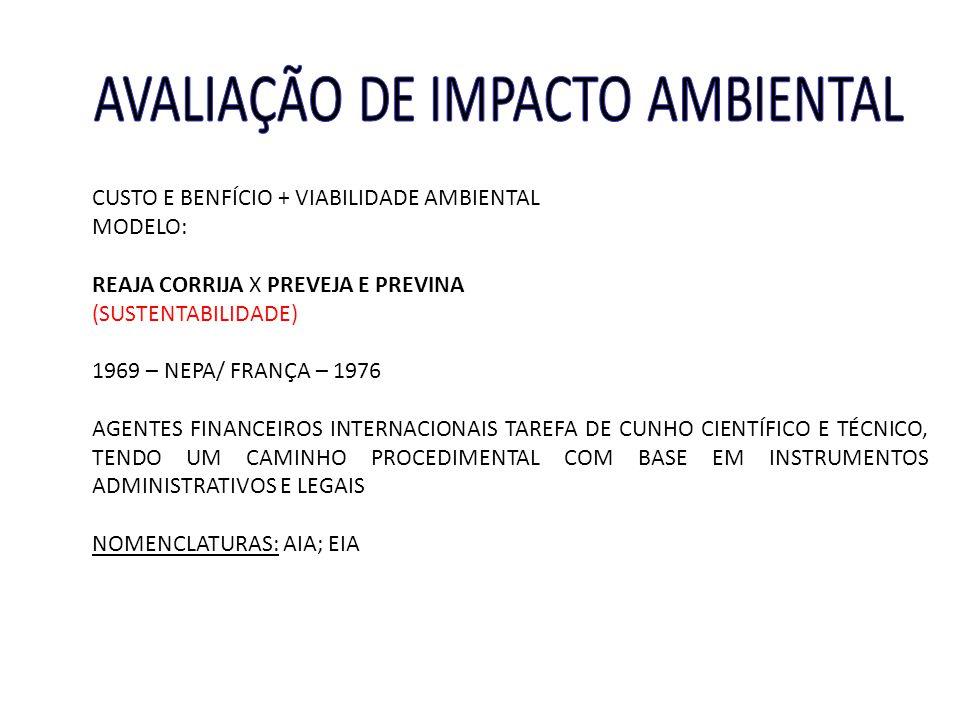 CUSTO E BENFÍCIO + VIABILIDADE AMBIENTAL MODELO: REAJA CORRIJA X PREVEJA E PREVINA (SUSTENTABILIDADE) 1969 – NEPA/ FRANÇA – 1976 AGENTES FINANCEIROS I