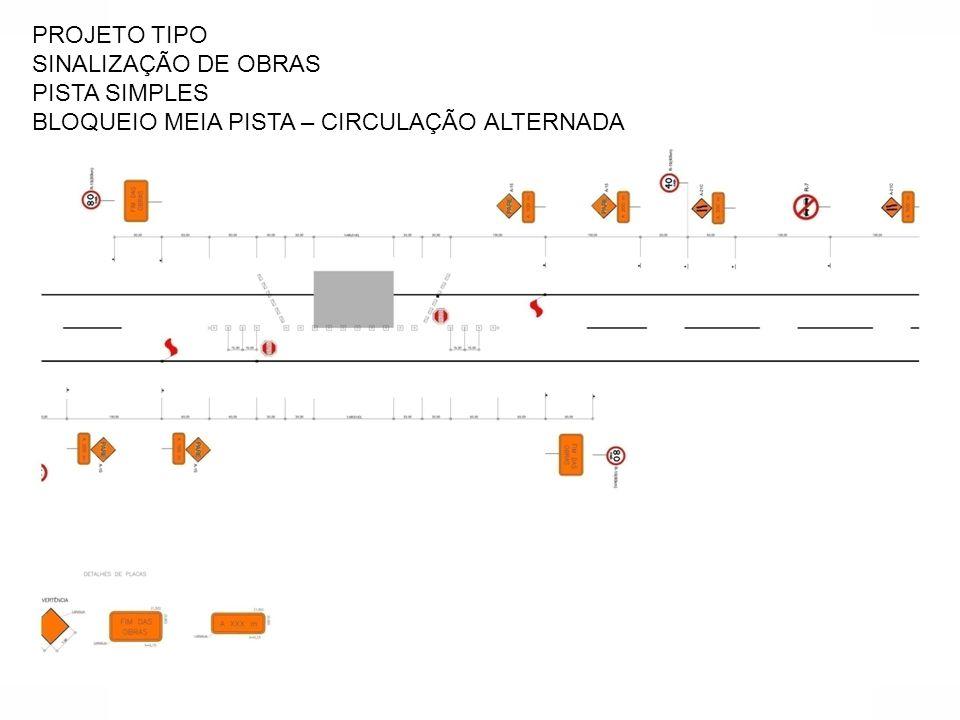 PROJETO TIPO SINALIZAÇÃO DE OBRAS PISTA SIMPLES BLOQUEIO MEIA PISTA – CIRCULAÇÃO ALTERNADA