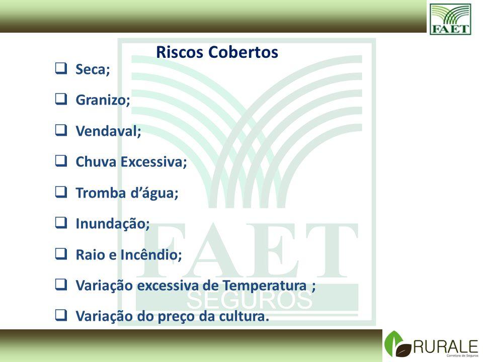 Riscos Cobertos Seca; Granizo; Vendaval; Chuva Excessiva; Tromba dágua; Inundação; Raio e Incêndio; Variação excessiva de Temperatura ; Variação do pr
