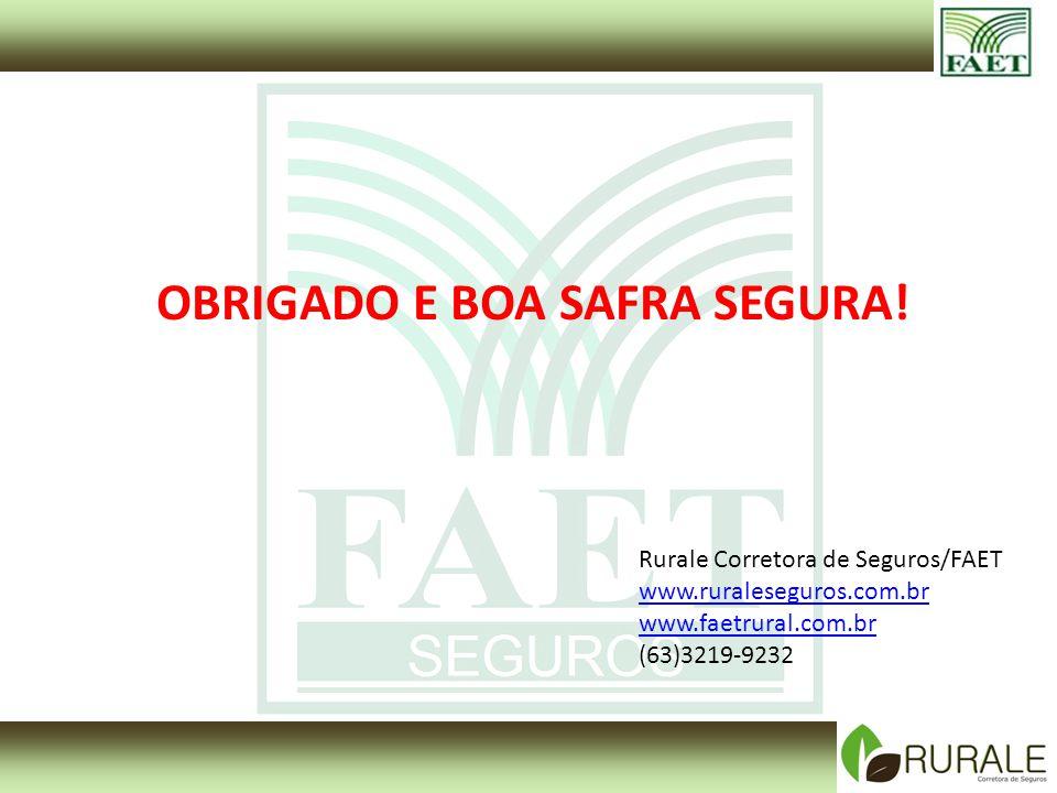 OBRIGADO E BOA SAFRA SEGURA! Rurale Corretora de Seguros/FAET www.ruraleseguros.com.br www.faetrural.com.br (63)3219-9232