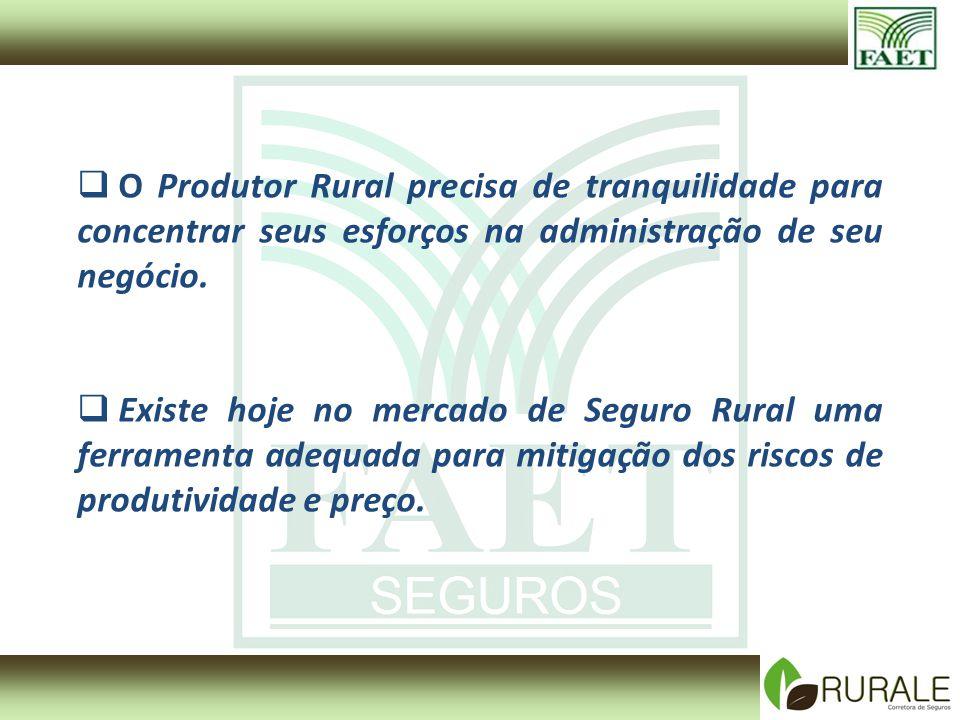 O Produtor Rural precisa de tranquilidade para concentrar seus esforços na administração de seu negócio. Existe hoje no mercado de Seguro Rural uma fe